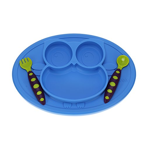 Baby Silicone Placemat Feeding Set Kirecoo Owl Plates + One Utensil Baby Fork and Spoon Set with Travel Case (Blue)