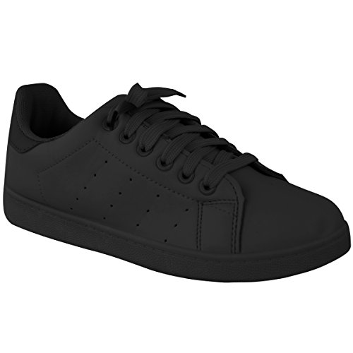 Fashion Thirsty Womens Lace Up Velcro Sneakers Classic Retro Sports Trainers Pumps Size Black