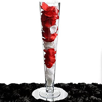 """BalsaCircle 6 pcs 20"""" tall Clear Glass Trumpet Vases for Wedding Party Flowers Centerpieces Home Decorations Cheap Bulk Supplies"""