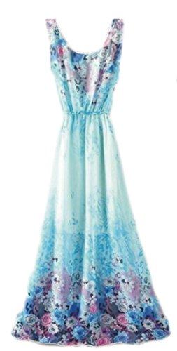 Cromoncent Femmes Robe Légère Bohème Beachwear Floral Réservoir Sans Manches Imprimé Bleu