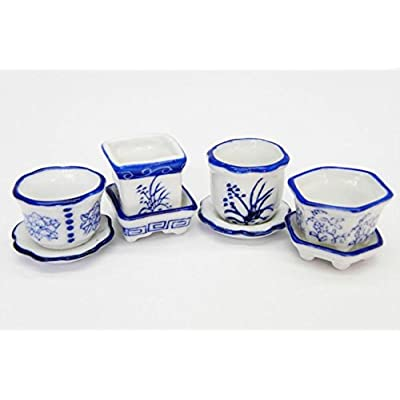 artisan hand made Dollhouse Miniature Set of 4 Blue and White Ceramic Flower Pots with Saucers: Toys & Games
