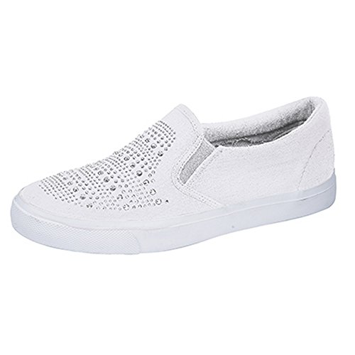 Womens Shoes Gusset White Ladies Twin Casual Dek Sparkle Vamp gwBdUn7gq