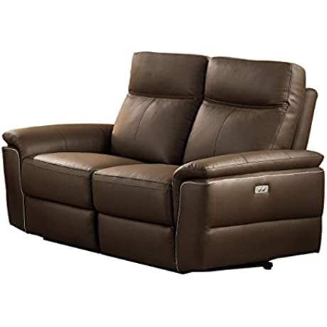 Homelegance Olympia Modern Design Power Reclining Loveseat Top Grain Genuine Leather Match Raisin