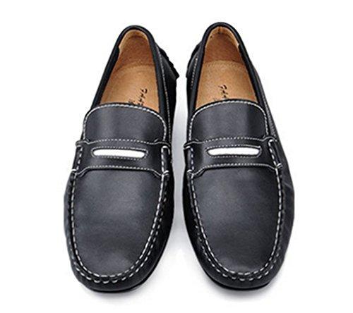 Crc Mens Chaud Recommander Bout Rond Classique En Cuir Bateau Bateau Chaussures Noir