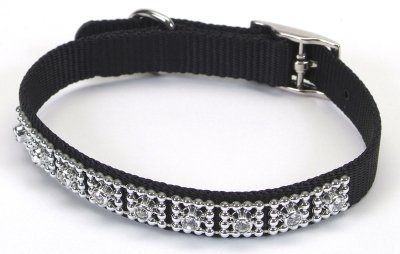 Jeweled Dog Collar  - 10 in. Black with Swarovski Crystal Jewels with a Width of 3/8 in.