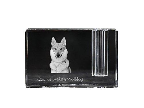 (Czechoslovakian Wolfdog, crystal pen holder with dog, souvenir, desk accessory, limited edition)