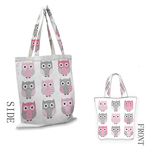 Pink and GreyWashable shopping bagCute Owl Figures Nocturnal Exotic Mystic Forest Night Animals IllustrationHandmade shopping bags W15.75 x L17.71 Inch Blush Grey (Partridge Shopping Bag Family)