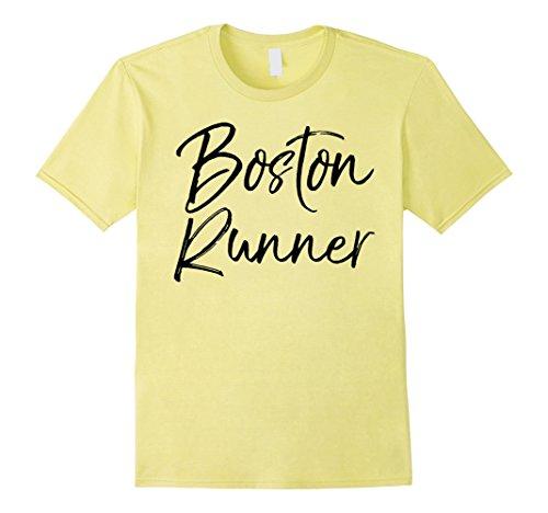 Mens Boston Runner Shirt Fun Massachusetts Workout & Fitness Tee 2XL Lemon Boston Design Studio