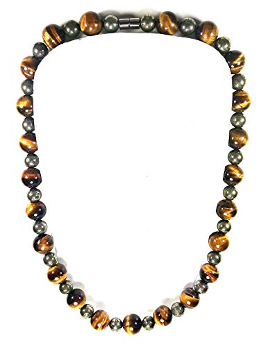 Auras by Osiris -Pyrite & Tiger Eye Beaded Necklace for Men - World Class Durability & Magnetic Clasp - Good Luck - Confidence - All Natural Gemstones - Handmade in USA Citrine Tigers Eye Necklace