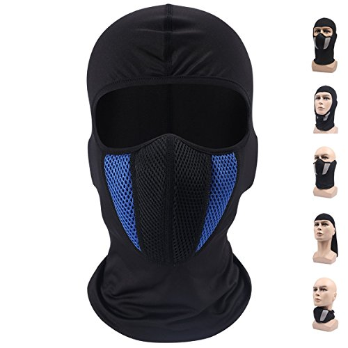 Balaclava Ski Mask, Windproof Face Mask, Motorcycle Face Mask for Men/Women, Thin Breathable Perfect Mask for Motorcycling, Snowboarding, Hiking (Blue)]()