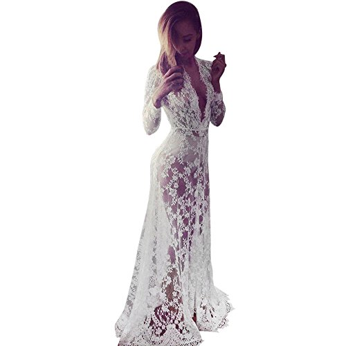 iLUGU Deep V Neck Long Sleeve Maxi Dress For Women Translucent Lace Hollow Pajamas Maxi Dresses For Women ()