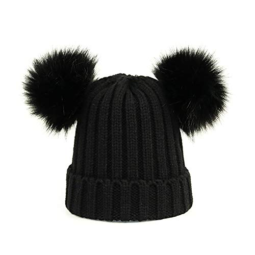 Kids Faux Raccoon Fur Ball Pompom Ears Winter Bobble Hat Knitted Double Pom Cap Kids Beanie Hat(Ages ()