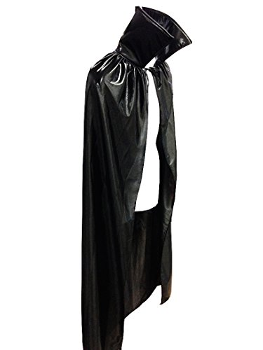 Luchador Adult Size 54'' Metallic Halloween Costume Cape Top Quality - BLACK by Mask Maniac