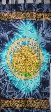 Batik Panel - Handmade 100% Cotton Celtic Wheel of Life Batik Curtain Drape Panel Blue 44x88