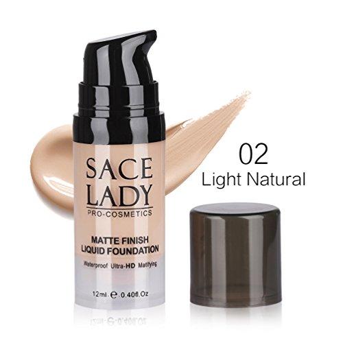 Sacelady Matte Finish Liquid Foundation Waterproof Ultra-HD Foundation ,Travel Size 0.4Fl Oz, Light Natural