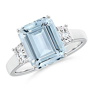Angara Aquamarine and Trapezoid Diamond Three Stone Ring in White Gold 79QU7Lx5d5