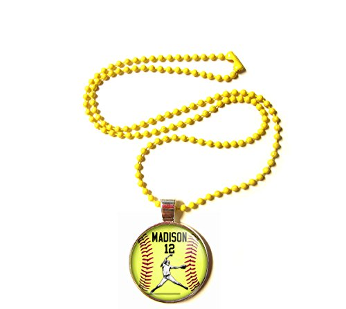 Softball Pitcher Charm Necklace- Girls and Women's Softball Pendant Jewelry - Perfect for Softball Players, Softball moms, Softball Teams and Coaches