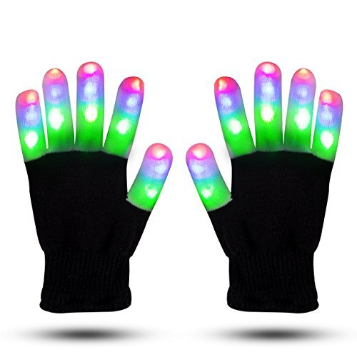 (ZOETOUCH LED Gloves Finger Lights Glowing Rave Gloves Flashing Gloves 6 Modes for Halloween Costume Christmas Dance Dubstep Party)