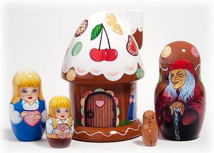 Hansel and Gretel 5 Piece Russian Wood Nesting Doll Matryoshka Stacking Dolls by Golden Cockerel (Image #2)