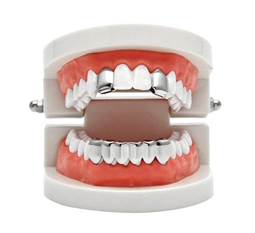 Gold Mouth Grills - Gold Grillz Best Gift Son Custom Fit 14k Plated Gold, Silver, Rose Gold Grillz - Excellent Cut All Types Teeth - Top Bottom Grill Set