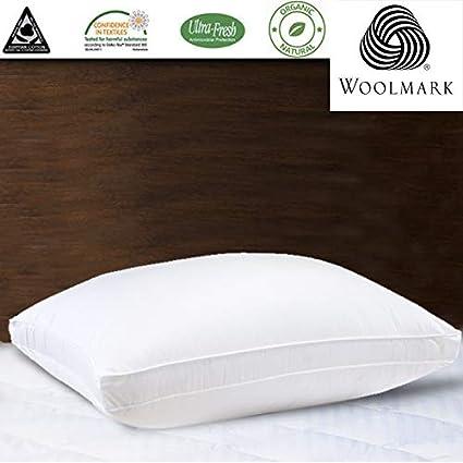 Kensingtons Natural Lana de Merino Relleno Almohada Hotel de Lujo Calidad 1400 G algodón Egipcio Funda