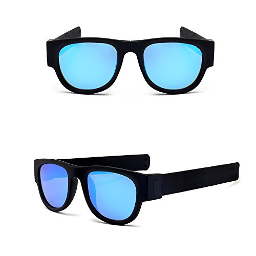 Polarized Sunglasses for Men Women Kids, Foldable Shades Silicone Frame with a Case for Swimming, Running, Cycling, Driving (shine blue)