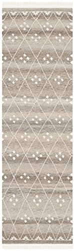 Safavieh Natural Kilim Collection NKM316B Flatweave Natural and Ivory Wool Runner (2'3