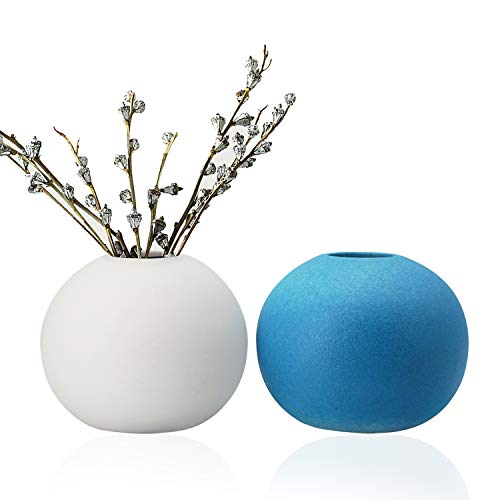 GeLive Ceramic Bud Vase, Ikebana Artificia Flower Arrangement, Round Spherical Tabletop Centerpieces Vase, Hydroponics Container, Reed Diffuser, Arranging Bouquets Home Decor, White and Blue 2 Pack