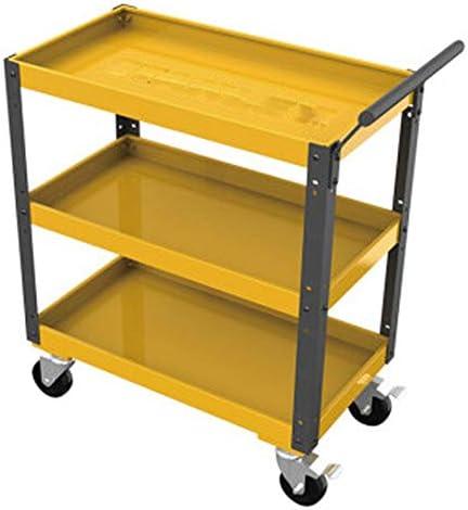 キャビネット 三層のツールカートティン・キャビネットツール自動修復ツールトロリーワークベンチワークショップ (色 : Yellow, Size : 68x37x42cm)