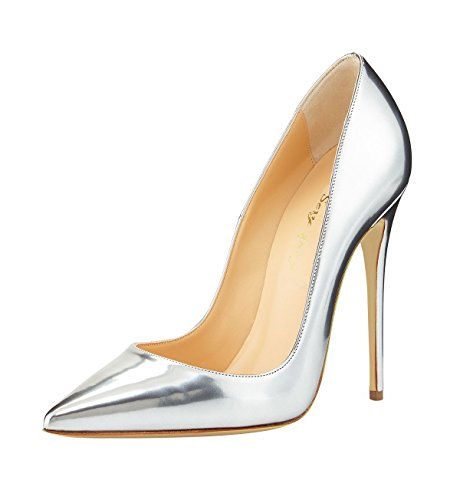 SexyPrey Women's Pointy Toe High Heels Slip On Pumps Ladies Stiletto Shoes Silver qckyT7
