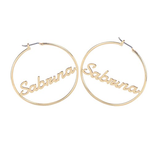 ca4af74cf Circle Name Earrings 45 mm Hoop Earrings For Celebrity Style Round Personalized  Custom Name Earring For Women Gifts: Amazon.ca: Handmade