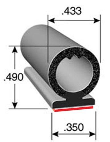 0.433 Bulb Diameter Trim-Lok DD1604BT-100 EPDM Rubber with BT 3M 0.492 Overall Height Bonded Foam Acrylic Tape System Pedestal Seal