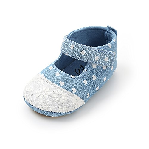 Kuner Toddler Baby Girls Shoes White Lace Polka Dot Summer Shoes Outdoor Denim Shoes(13cm(12-18months), Denim Blue) ()