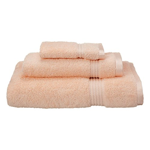 peach stripe border towel set