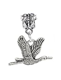 Flying Crane Heron Birder Bird Dangle Charm for European Bracelets