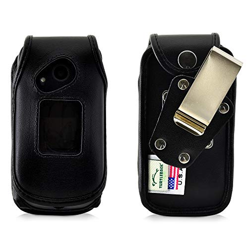 Turtleback Sonim XP3 Case Heavy Duty Fitted Black Leather Case with Rotating Removable Metal Belt Clip, Fits SonimXP3 Flip Phone, Made in USA ()