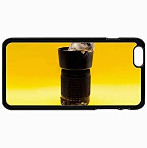 Customized Cellphone Case Back Cover For iPhone 6 Plus, Protective Hardshell Case Personalized Hamster Lens Yellow Background Art Black