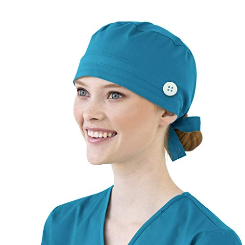 Surgical Cap Scrub Caps with Button Sweatband Medical Nurse Doctor Bouffant Hat Headwear Head Cover Adjustable for Women Men
