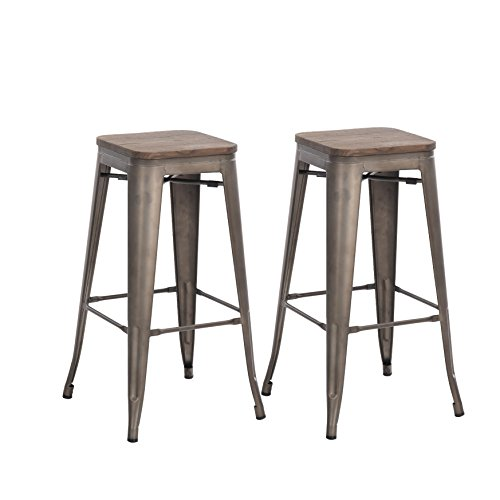 Buschman Set of Two Dark Gun Metal Gray Wooden Seat 30 Inches Counter High Tolix-Style Metal Bar Stools, Indoor/Outdoor, Stackable