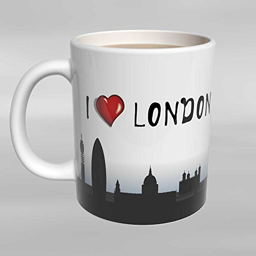 Mugs Unlimited Novelty Coffee Mug - I Love Heart London - 11 OZ Coffee Mug - Great Gift for friends, family, a colleague, or an Anglophile (person from England) Heart London Mug
