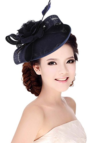 La Vogue Women Sinamay Flower With Hair Clip Fascinator Feather Tea Party Derby Navy Blue