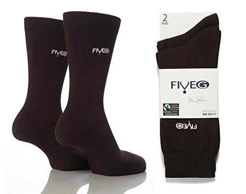 Fiveg - 6 Paquet Coton Pour Hommes De Couleur Mince Plaine Molle Riche Chaussettes Affaires Robe Marron