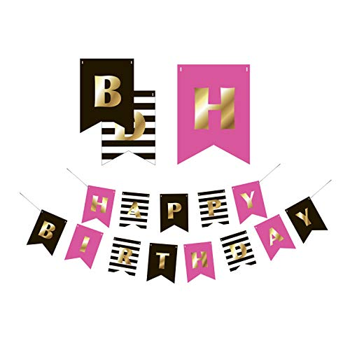 Premium Happy Birthday Banner Party Decorations | Bunting Garland | Hot Pink Gold Black White | Chic Kate Spade Inspired | First, 10th, 18th, 21st, 30th, 40th, 50th, 60th etc | for Girls, Women ()