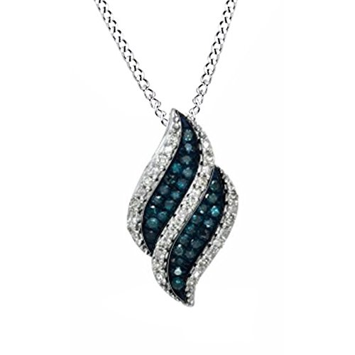 Round Cut Blue and White Natural Diamond Flame Pendant Necklace 10k White Gold (0.10 Cttw) - 0.10 Cttw Natural