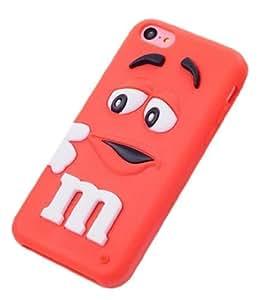 JBG Red iphone 5C Cute 3D Cartoon Milk Chocolate Bean M&M Figer Bean Soft Silicone Back Case For Apple iphone 5C
