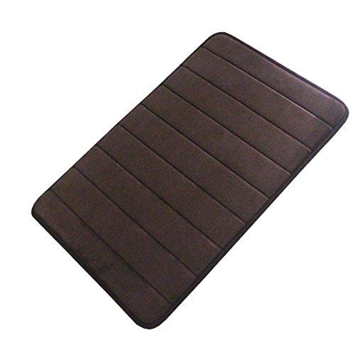 FindNew Non-Slip Soft Microfiber Memory Foam Bath Mat,Toilet Bath Rug,with Anti-Skid Bottom Washable Quickly Drying Bathroom mats (16 X 24, Brown)