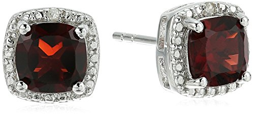 Diamond January Birthstone Earrings (Sterling Silver Cushion Garnet and Diamond Accented Halo Stud Earrings)