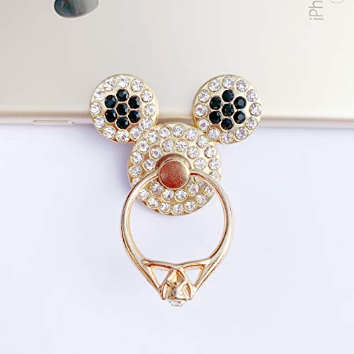 Universal 360 Rotating Finger Ring Stand Holder for Cell Phone iPhone iPad or Tablet - Crystal Mickey Mouse (Black) (Mobile Mickey Mouse Phone)