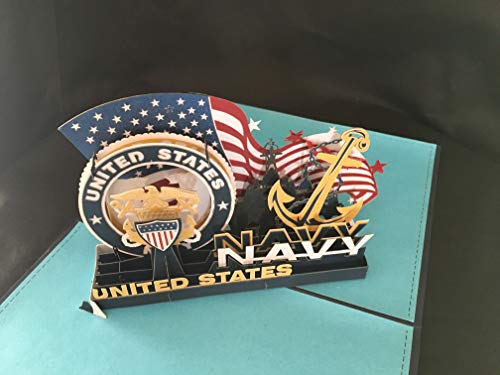 - US Navy 3D Pop Up Card with envelope-Unique Pop Up Greeting Cards for Hail and Fairwell, Fleet Week Sailor Ship Boat Destroyer