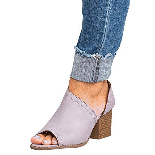 Hibote Women Sandals Low Mid Wedge Heel Peep Toe Ladies Ankle Zip Casual Party Beach Strappy Sandals Grey my6vD